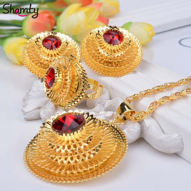 Shamty Ethiopian 24k gold plated jewelry Sets Bule/Green/Red Stone