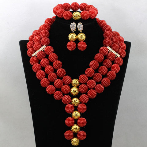 Red African Bride Balls Jewelry Set Indian Nigerian Wedding Beads Statement Necklace Set 2016 New Free Shipping WA575