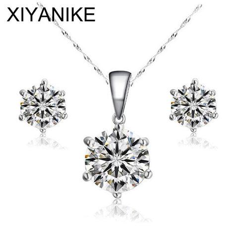 High Quality 18K Platinum Plated Bridal Jewelry Set Round Jewelry Sets for Women Wedding with High Quality AAA Zircon XY-N17