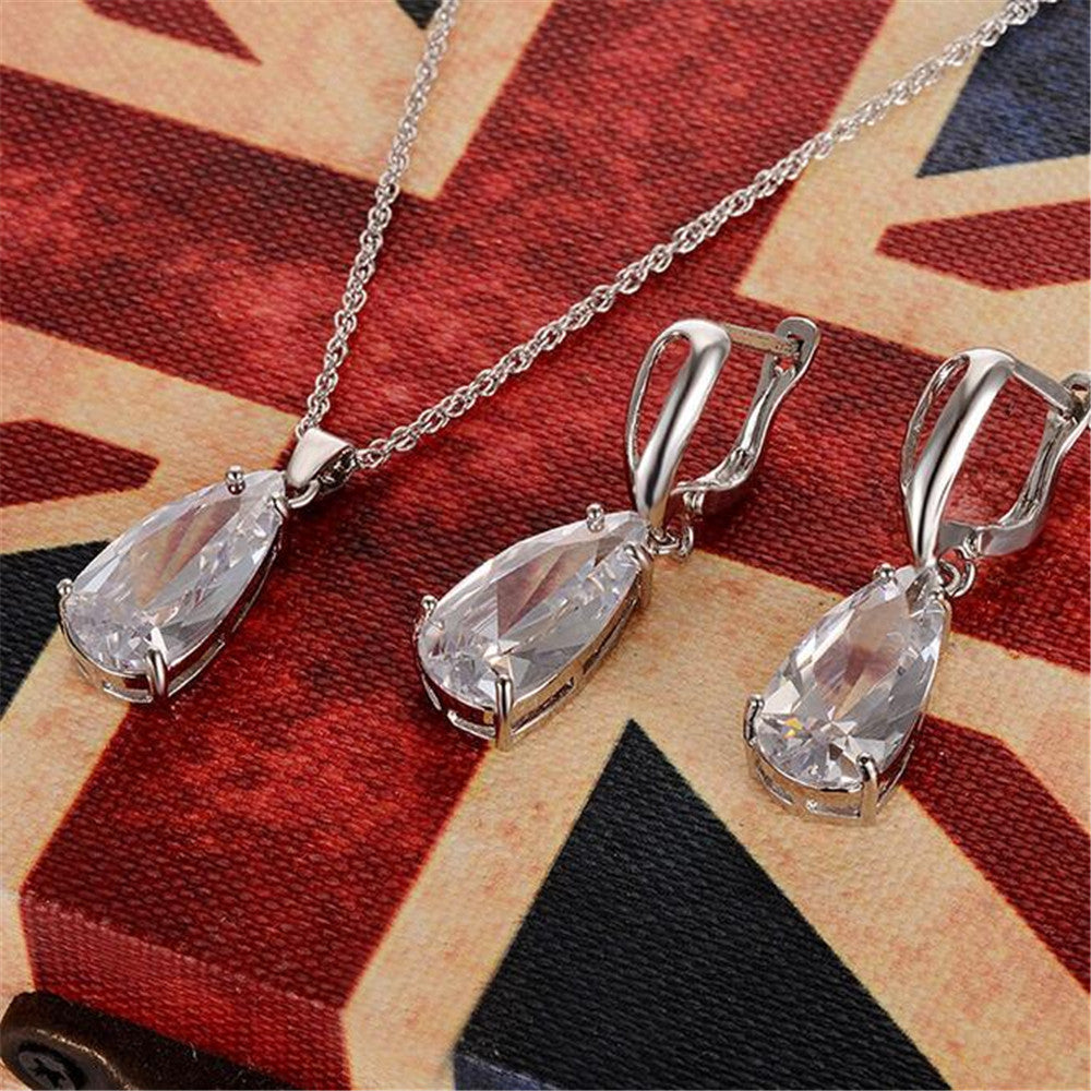 Clear Zircon Jewelry Sets for Women Silver Plated Drop Cubic Zircon