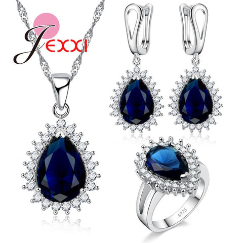 JEXXI Fashion 925 Sterling Silver Women Crystal Water Drop Bridal Jewelry Sets For Wedding Accessory Necklace Earrings Ring Set