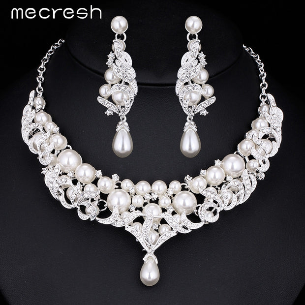 Mecresh Gorgeous Simulated Pearl Bridal Jewelry Sets Silver Plated