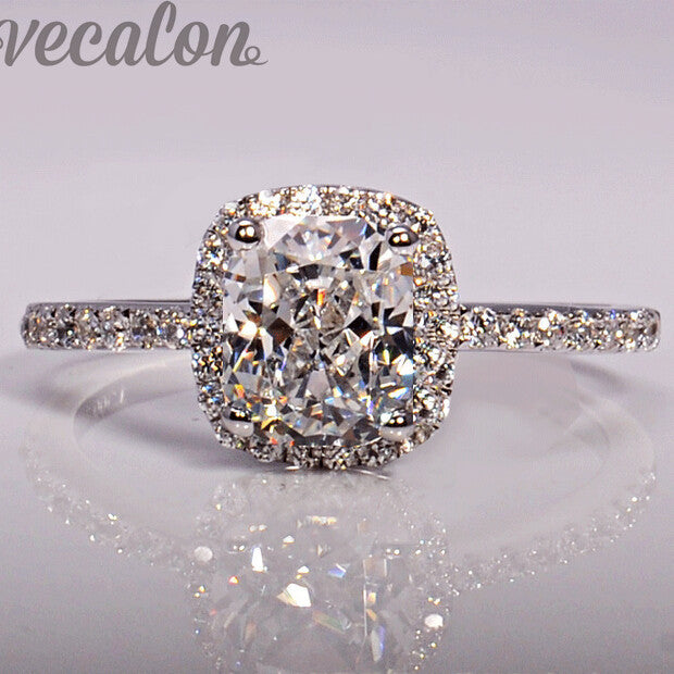 Vecalon fashion Jewellry Design wedding Band ring for women cushion