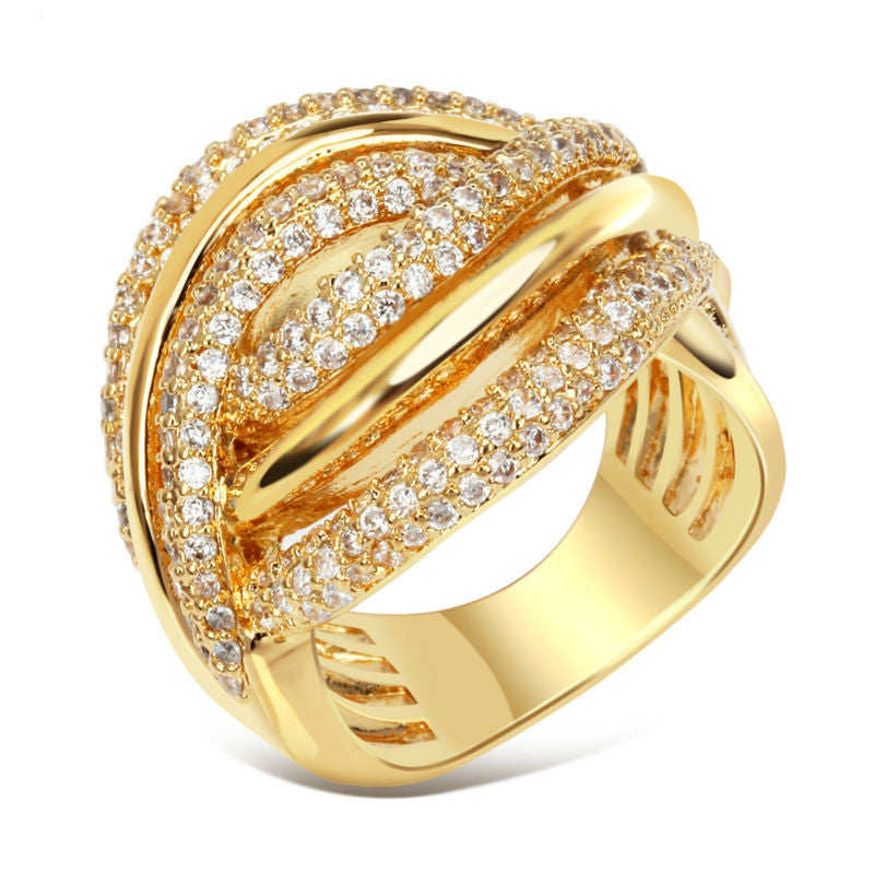 DC1989 Twisted Design Women Pierced Ring Rhodium or Gold Plated Luxury