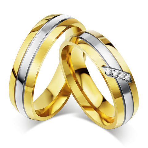 Gold Plated Wedding Band Stainless Steel Rings For Women And Men Wedding Engagement Couple Ring Wholesale