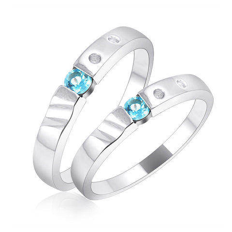 Classic sterling silver couple ring print name lovers' ring 4*4mm natural light blue topaz 925 silver gemstone lovers' ring