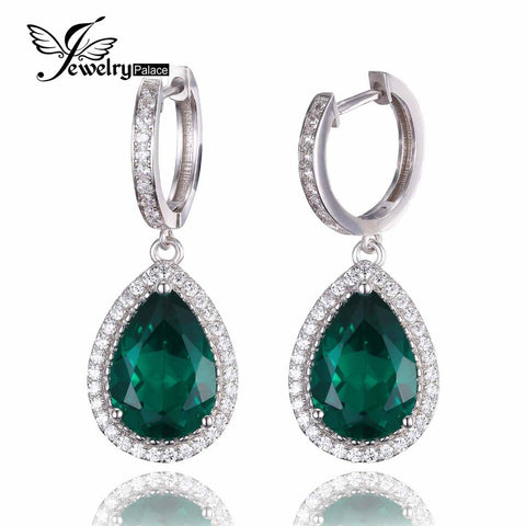 JewelryPalace Luxury Pear Cut 8.4ct Created Green Nano Russian Emerald Clip On Earrings Solid 925 Sterling Silver Fine Jewelry