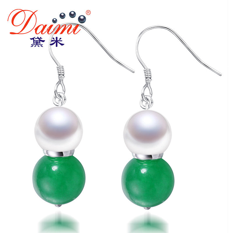 DAIMI 8-9mm Natural White Freshwater Pearl & Agate/Jade Drop