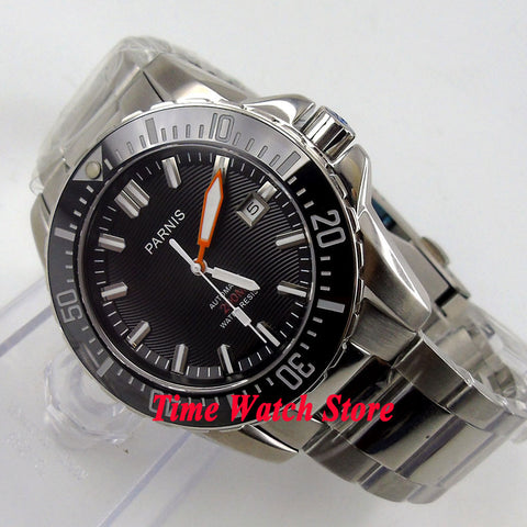 Parnis watch 43mm Black dial Sapphire glass Stainless Steel strap Ceramic Bezel Diver Automatic movement  Men's watch 473