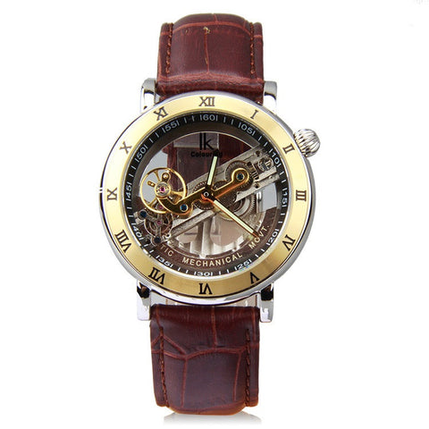 IK Steampunk Bridge Skeleton Self-Winding Mechanical Business Men's Watch Black Coffee Leather Belt Strap