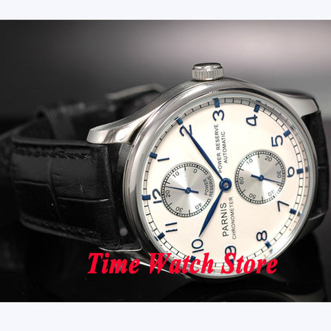 Parnis watch 43mm Power reserve silver dial Black Leather Strap ST2542 Automatic movement  Men's watch 99