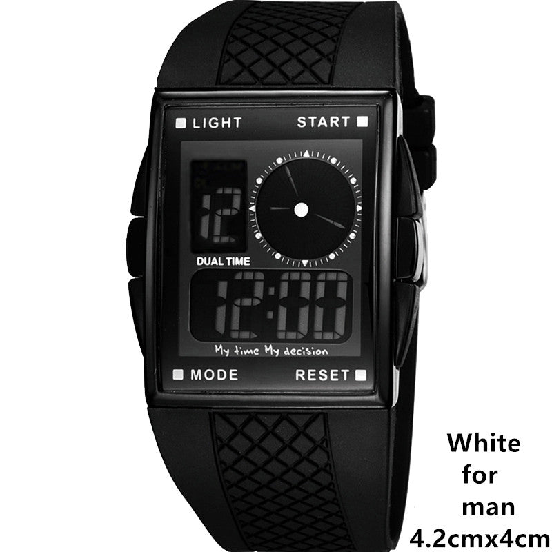 Cool LED Digital and Analog Men Sports Watch with Square Dial, Hot
