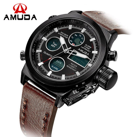 Outdoor Sport Men Watch Leather Strap Military Dual Display Analog-Digital Quartz-Watch Fashion Chronograph Wristwatch With Date