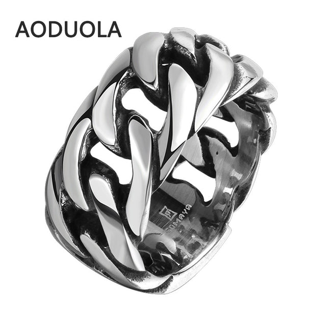 Stainless Steel with Rope Punk Ring Big Size rings Retro Vintage Biker