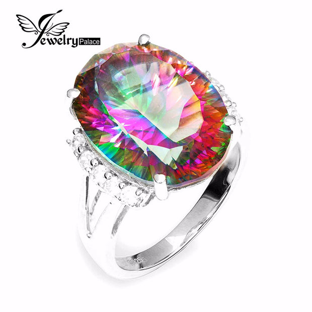 Huge 13ct Natural Rainbow Fire Mystic Topaz Engagement Ring Genuine