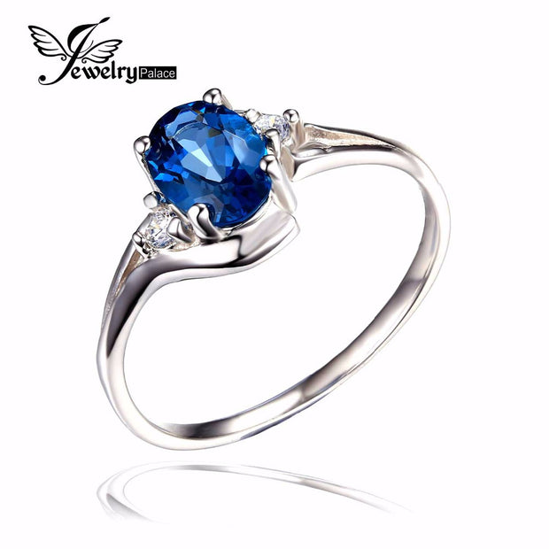 Natural London Blue Topaz Engagement Ring Genuine 925 Sterling