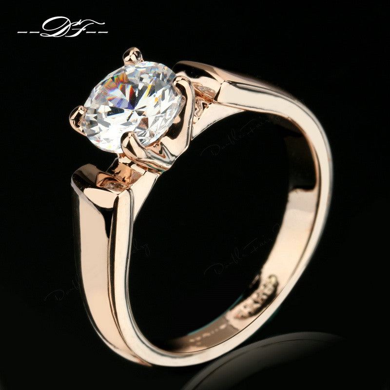 Double Fair Round Cut Cubic Zircon Engagement Rings Silver/Rose Gold