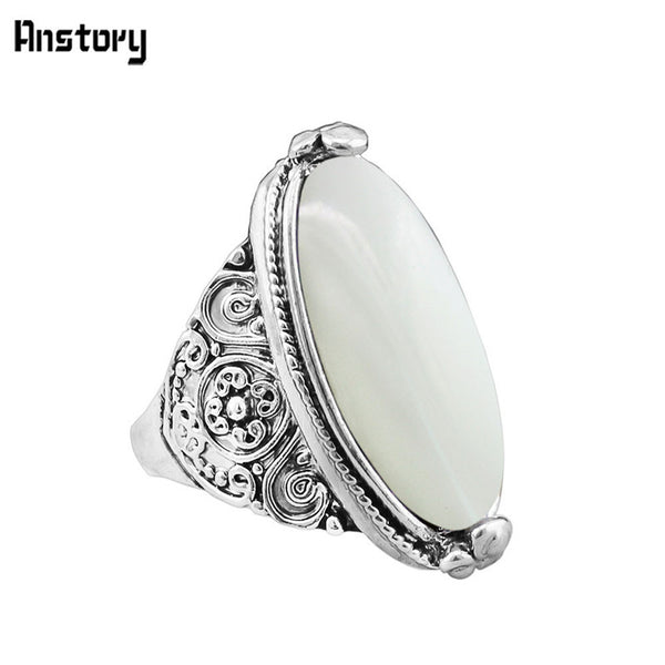 Natural Opal Ring Fashion Jewelry Vintage Look Tibetan Alloy Antique Silver Plated Personality Jewelry TR592