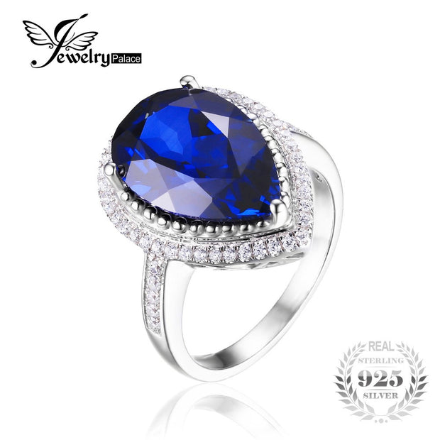 Charm 7ct Water Drop Cut Created Sapphire Ring Women Party Set Pure