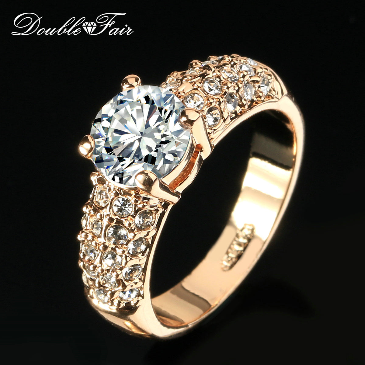 Double Fair Engagement Wedding Rings Cubic Zirconia Rose Gold Plated