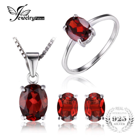 JewelryPalace 5ct Oval  Natural Gemstone Red Garnet Ring Earrings