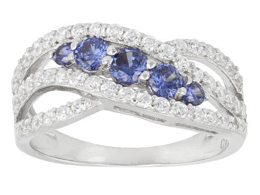 Classic Curved Design Fashion 925 Sterling Silver Tanzanite Engagement