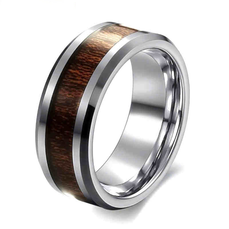 Classic Style 8mm Mens Ring Stainless Steel Ring Retro Dark Wood Grain