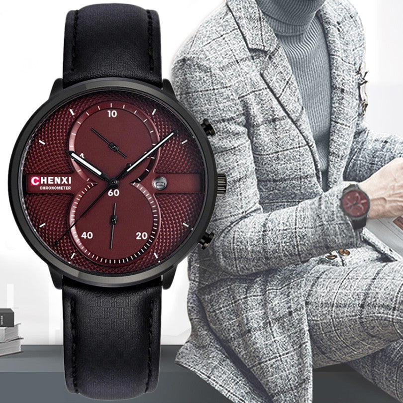 CHENXI Men Wristwatches Leather Strap Multifunctional Quartz Watch