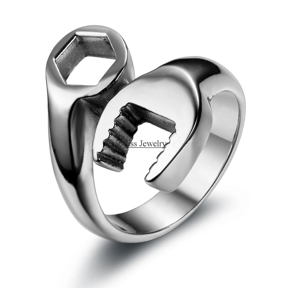 Fashion Cool Biker Mechanic Wrench Stainless Steel Mens Ring Punk
