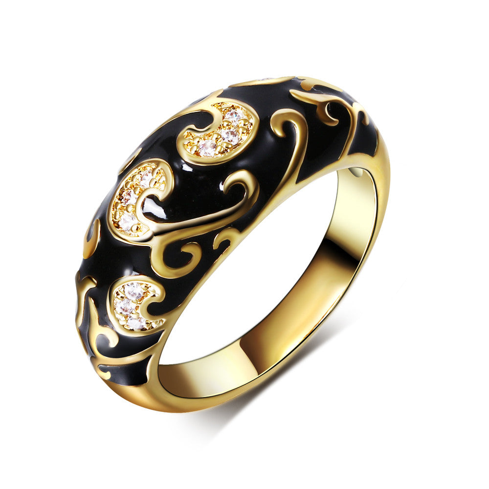 DC1989 New Bohemia Fashion Engagement Ring for women Gold Plated Black