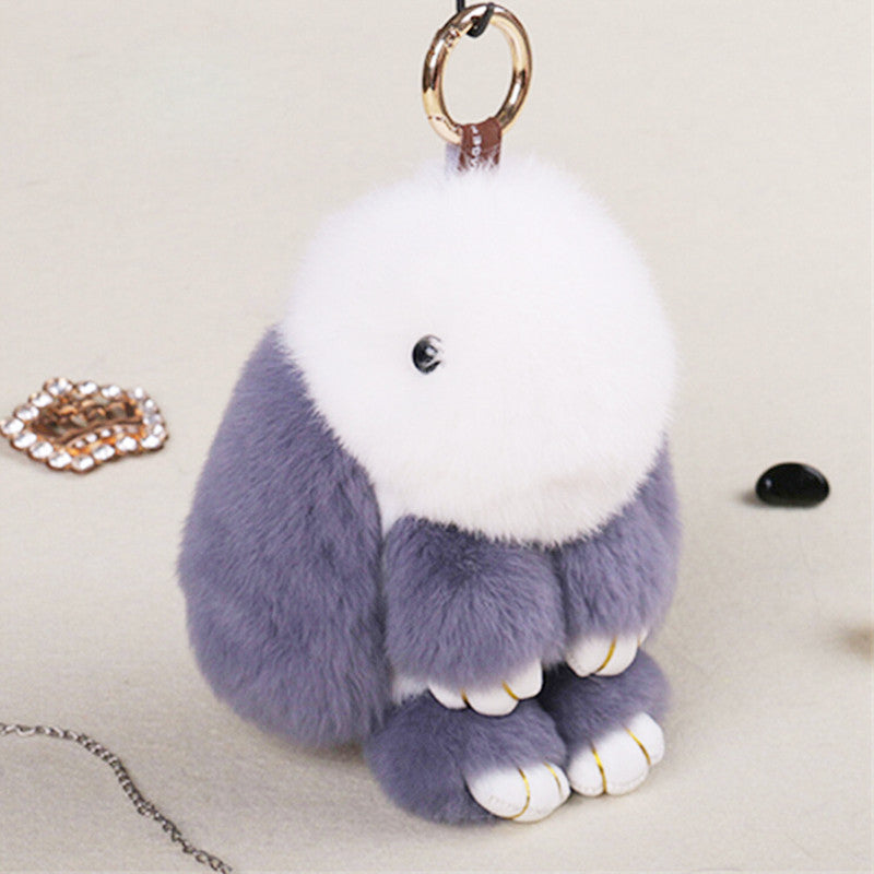 Cute Mini Rabbit Toy Doll Real Fur Monster Keychains 100% Real Genuine