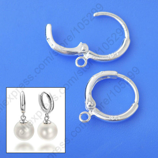 Fine Jewelry Findings 20PCS(10Pair) Genuine Real Pure 925 Sterling