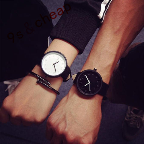 Fashion Simple Soft Leather Strap Quartz Watch Mens Wristwatches for Women Lovers Ladies Black White Relojes Mujer Montre #1209