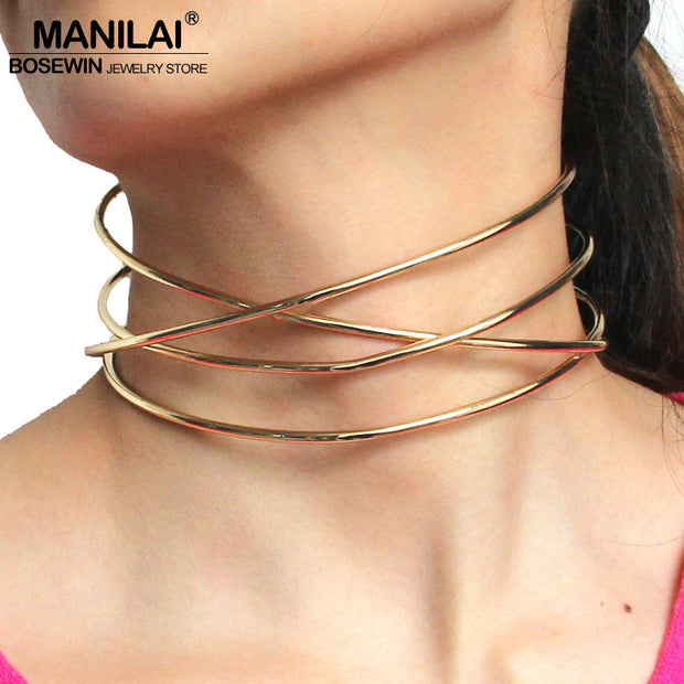 MANILAI Fashion Alloy Torques New Brand Choker Necklaces For Women New