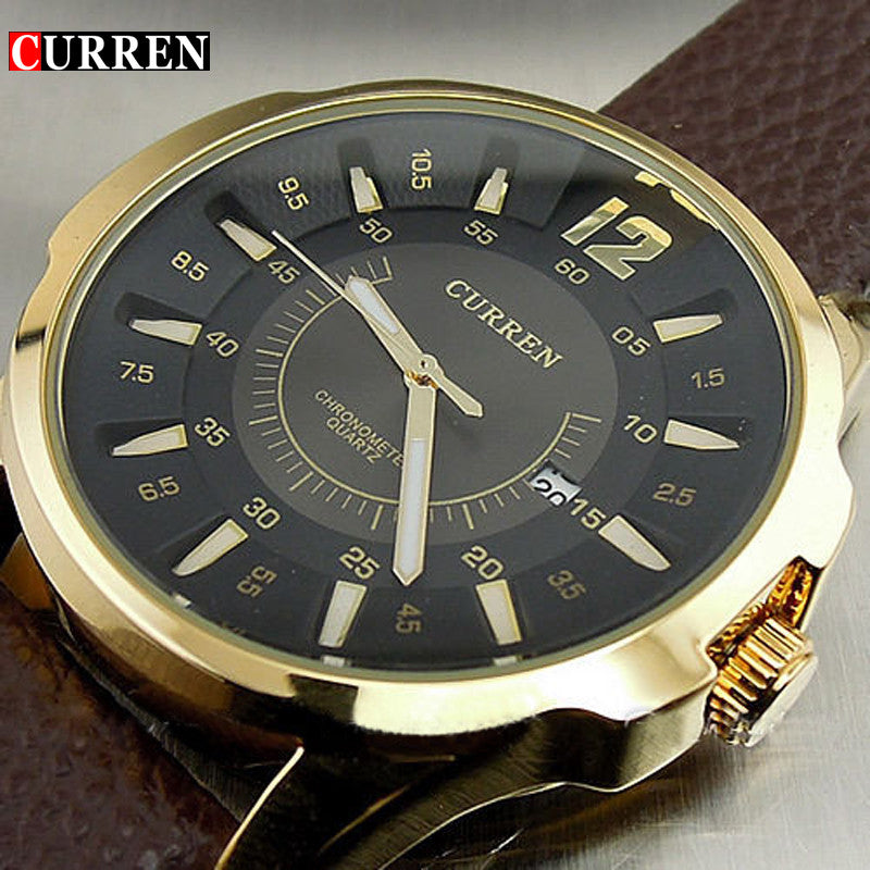 CURREN FASHION LUXURY BRAND MALE CLOCK HOURS DATE BROWN LEATHER