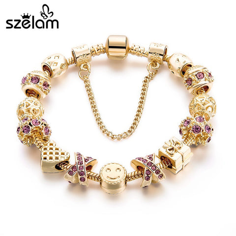Szelam  Fashion Jewelry Crystal Heart Beads Bracelet  For Women Gold European Diy Charm Bracelets & Bangles Pulseira Sbr160131