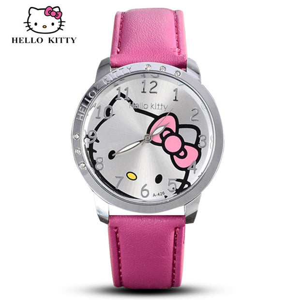 Hello Kitty Watch Women Kid Quartz WristWatch Cartoon Leather Cute