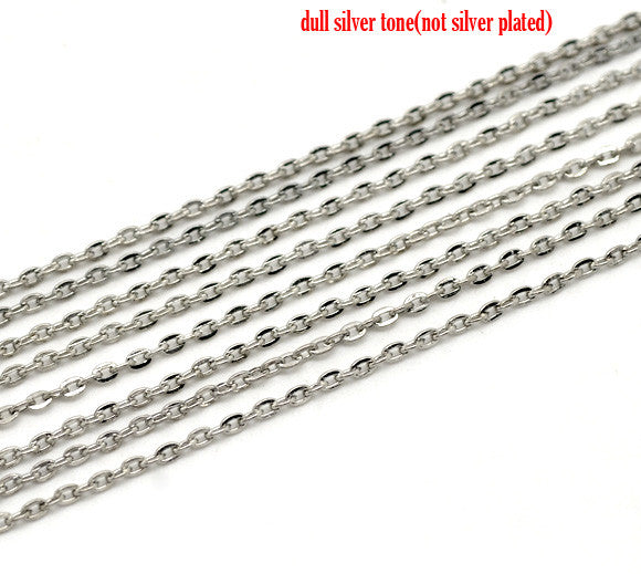 Doreen Box Lovely Silver Tone Links-Opened Cable Chains Findings