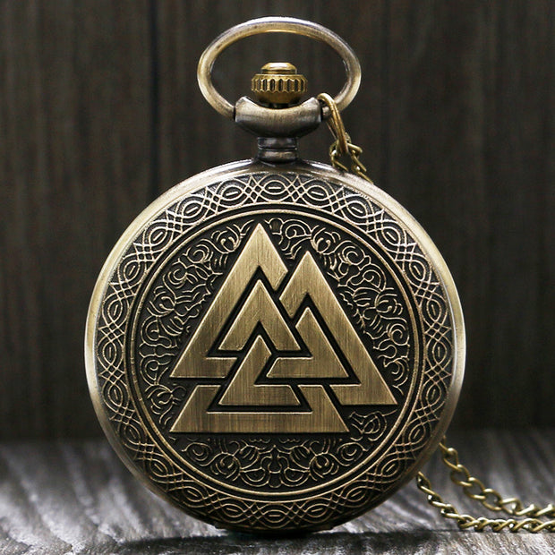 Vintage Triangle Valknut Norse Vikings Bronze Quartz Pocket Watch