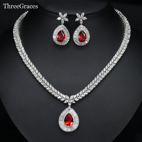 Classic CZ Simulated Diamond Hot Red Crystal Flower Big Water Drop Earrings Necklace Bridal Jewelry Set For Women JS209