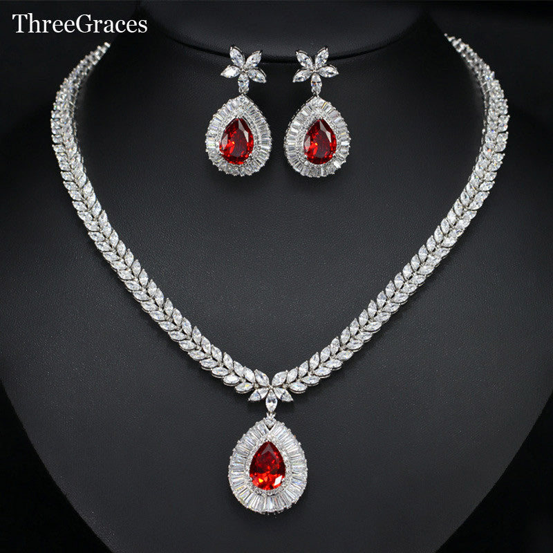 Classic CZ Simulated Diamond Hot Red Crystal Flower Big Water Drop
