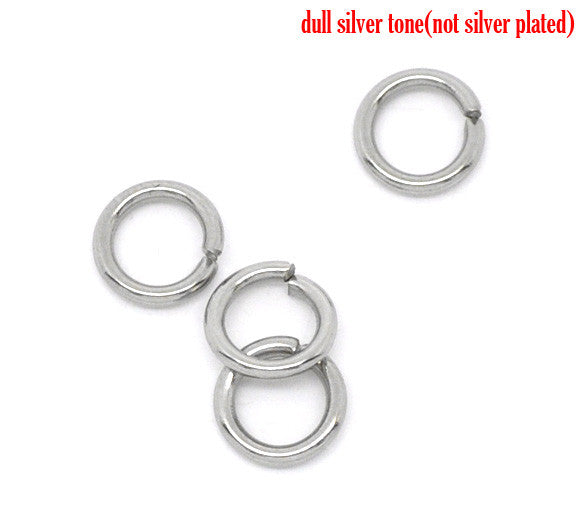 Doreen Box Lovely 500 Stainless Steel Open Jump Rings 5mm Dia.