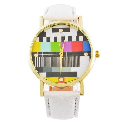 Television Pattern Women's Watches TV PU Leather Clock Quartz