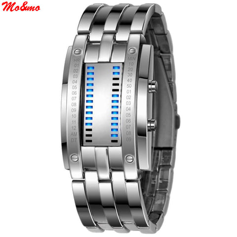 New Technology Binary Watch Stainless Steel Date Digital LED Bracelet Sport Watches montre femme
