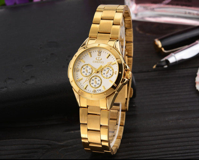 CHENXI Lovers Quartz Watches Women Men Gold WristWatches Top Brand