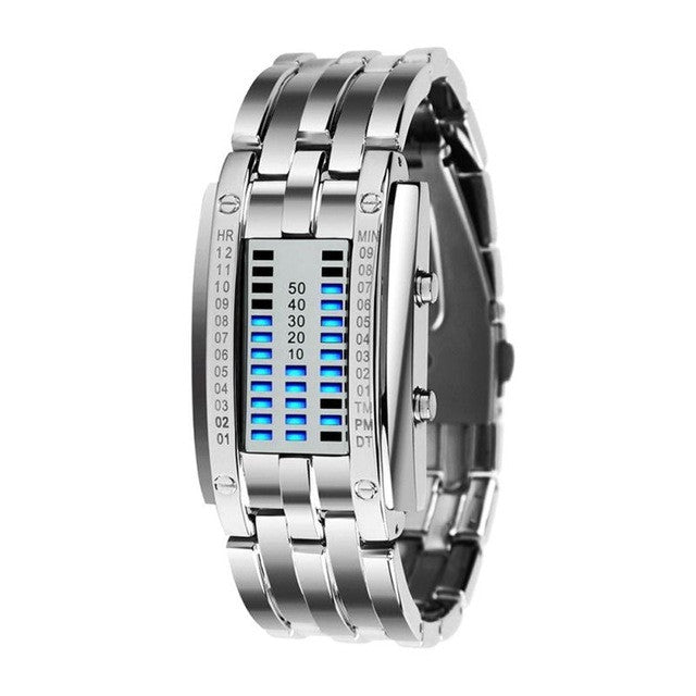 New Technology Binary Watch Stainless Steel Date Digital LED