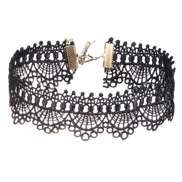 IF ME Black Sexy Lace Short Tattoo Choker Necklaces Hollow Steampunk