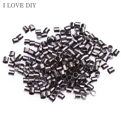 Wholesale  500/1000pcs 1.5mm  Metal Tube Crimp  End Beads for DIY Jewelry Making Bracelets Necklaces