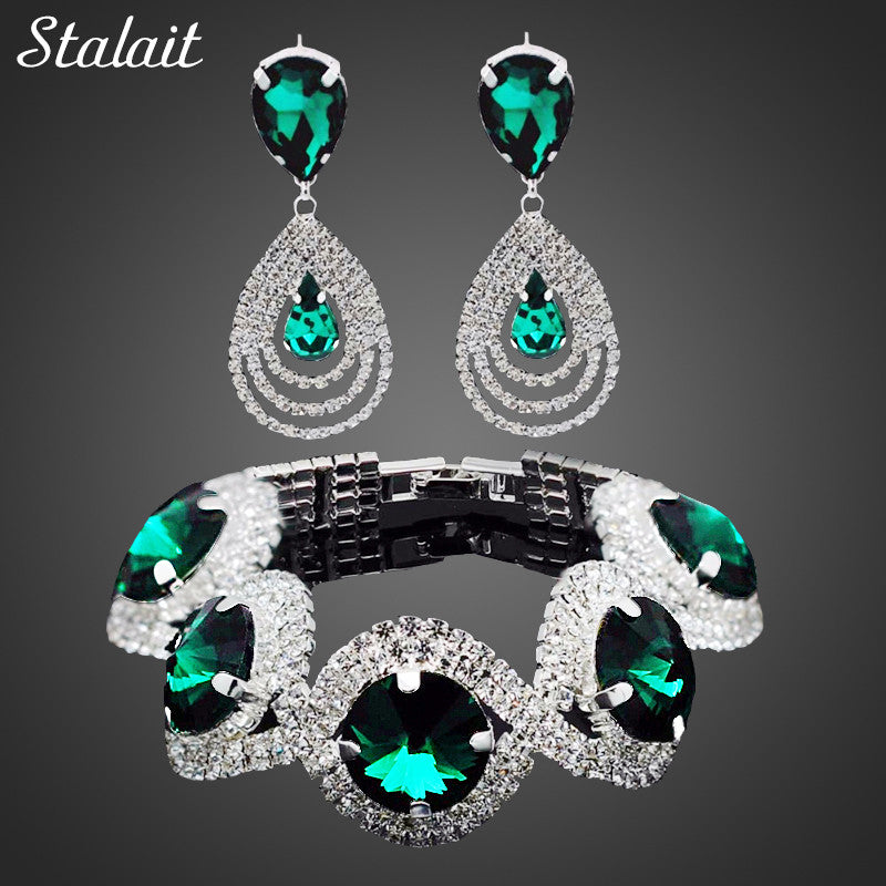 Fashion Wedding Bridal Jewelry Sets Rhinestone Austrian Crystal