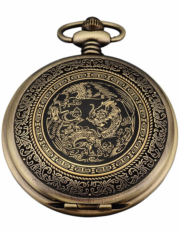 Nostalgic Classic Retro Bronze Copper Dragon Pendant White Dial Men